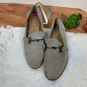 """Franco Sarto Grey Taupe Suede Loafers """"Harlow"""" 8.5"""